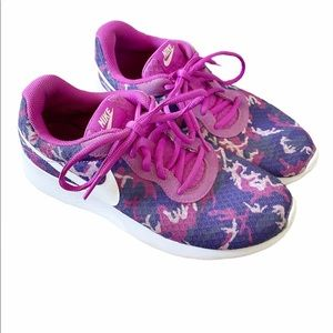 Nike Tanjun Purple Camo Print Sneakers